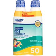 Equate Kids Continuous Sunscreen Spray, SPF 50, 12 Oz, 2 Ct