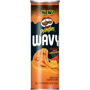 (4 pack) Pringles Wavy Applewood Smoked Cheddar Crisps 4.8oz