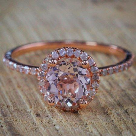 1.50 Carat Peach Pink Morganite (Round cut Morganite) and Diamond Halo Engagement Ring in 10k Rose Gold