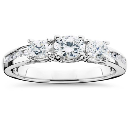 Three Stone Diamond Engagement Ring 2 Carat 14k White Gold Round Cut Solitaire