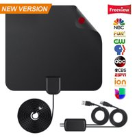 Digital TV Antenna - 110 Miles HDTV Antenna Digital Indoor Antenna with Detachable Signal Booster VHF UHF High Gain Channels Reception For 4K 1080P Free TV Channels