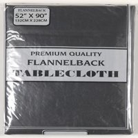 Carnation Home Fashions 52'' x 90,'' Vinyl Tablecloth with Polyester Flannel Backing in Black