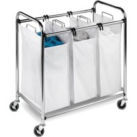 Honey Can Do Commercial-Grade Triple Laundry Sorter, Chrome/White