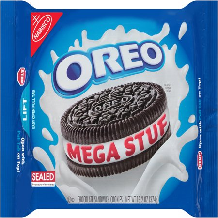 Nabisco Oreo Mega Stuf Chocolate Sandwich Cookies, 13.2 Oz. Chocolate Semi Sweet Cookies