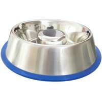 Stainless Steel Interactive Slow Feed Dog Bowl with a Silicone Base by Mr. Peanut's, Fun Healthy Bloat Stop Feeder (Large)