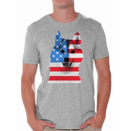 July Dog T-shirt - Awkward Styles American Flag Husky Dog Shirts for Men American Patriotic T Shirt Tops USA Flag Shirts 4th Of July Gifts for Husky Dog Owners Red White and Blue Independence Day Tee Shirts for Him