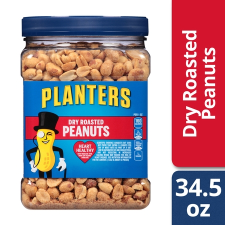 Peanuts Salted Shell - Planters Peanuts, Dry Roasted & Salted, 34.5 Ounce Jar