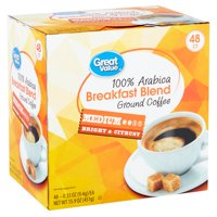 Great Value 100% Arabica Breakfast Blend Coffee Pods, Medium Roast, 48 count
