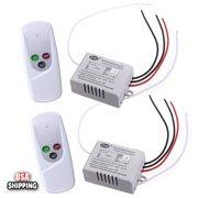 GLIME 2x Wireless 1-Way ON/OFF 110V Light Lamp Digital Wall Control Remote