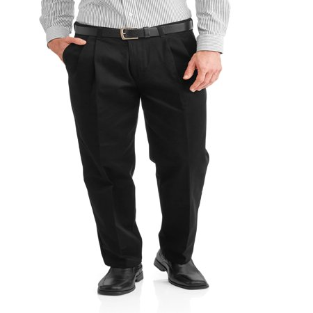 - Big Men's Wrinkle Resistant Pleated 100% Cotton Twill Pant with Scotchgard
