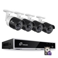 Loocam 1080P 4CH HD-TVI Video Security Camera System DVR Surveillance Camera Kit and 4 PCS 2.0MP Indoor /Outdoor IR Weatherproof Camera 150FT Night Vision with IR Cut(1TB Hard Drive)