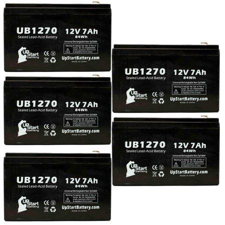 5x Pack - Exide 6V5K Battery Replacement -  UB1270 Universal Sealed Lead Acid Battery (12V, 7Ah, 7000mAh, F1 Terminal, AGM, SLA) - Includes 10 F1 to F2 Terminal