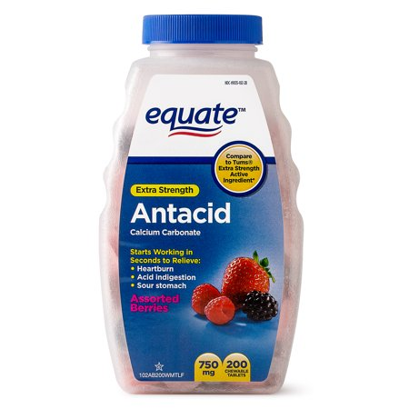 Equate Extra Strength Antacid Assorted Berries Chewable Tablets, 750 mg, 200 Count Aloe Vera 200 60 Tablets