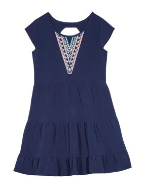 Girls' Tribal Embroidered Ruffle Tiered Dress