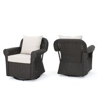 Admiral Outdoor Dark Brown Wicker Swivel Rocking Chair with Cushions, Set of 2, Beige