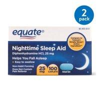 (2 Pack) Equate Nighttime Sleep Aid Diphenhydramine HCl Caplets, 25 mg, 100 Ct