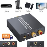 NEW Digital to Analog Analogue Audio Converter Coax Coaxial Optical Toslink RCA R/L Optical Coax to Analog RCA Audio Adapter with Optical Cable 3.5mm Jack Output