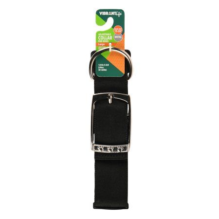 Vibrant Life Metal Adjustable Dog Collar, Black, Large