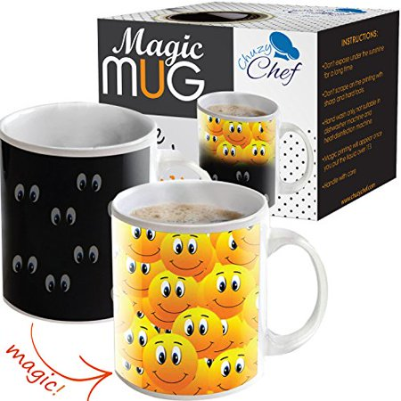 Magic Color Changing Funny Mug Cool Coffee & Tea Unique Heat Changing Sensitive Cup 12 oz Smiley Faces Design Drinkware Ceramic Mugs Cute Birthday Gift Idea for Mom Dad Friend Women & Men - Halloween Duo Ideas For Friends