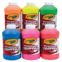 Crayola Premier Non-Toxic Tempera Paint, 1 Pint Squeeze Bottle, Fluorescent Orange/Yellow