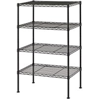 """Muscle Rack 20""""W x 12""""D x 32""""H Four-Level Wire Shelving, Black"""