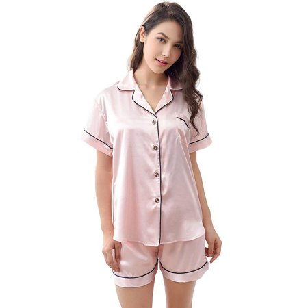 Women's Satin Pajamas Sleepwear Set Short and Long Button-Down PJ Set ()