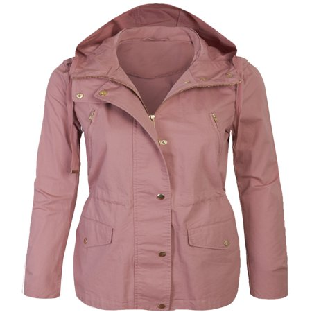 Womens Zip Up Military Anorak Safari Jacket with