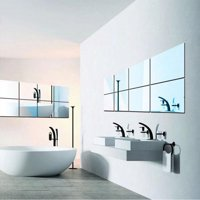 WALFRONT New Arrival 16Pcs Square Mirror Tile Wall Stickers 3D Decal Mosaic Home US,16Pcs Square Mirror Tile