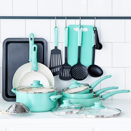 GreenLife Soft Grip Absolutely Toxin-Free Healthy Ceramic Non-stick Cookware Set, 18-Piece Set, Turquoise