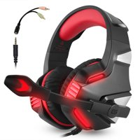 PS4 Xbox One Gaming Headset, V3 Over Ear Gaming Headphones with Mic, Stereo Bass Surround, LED Lights and Volume Control for Laptop, PC, Mac, iPad and Smartphone