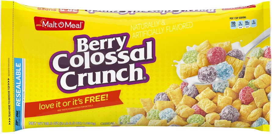 Crunch Goat (Malt-O-Meal Breakfast Cereal, Berry Colossal Crunch, 38.5 Oz, Zip Bag)