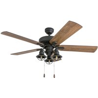 Prominence Home 50650-35 Ennora Farmhouse 52-Inch Aged Bronze Indoor Ceiling Fan, Lantern LED Multi-Arm Barnwood/Tumbleweed Blades