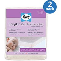 (2 Pack) Sealy SecureStay Waterproof Crib Mattress Pad