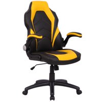 Gymax Ergonomic Office Chair PU Race Car Style Bucket Seat Gaming Desk Task Yellow New