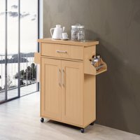 Hodedah Kitchen Cart with Spice Rack plus Towel Holder, Beech