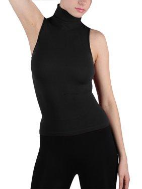 Women Seamless Sleeveless Mock Neck Turtleneck Shirt Shaping Ribbed Tank Top