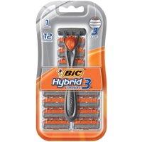Bic Hybrid 3 Comfort Men's 3-Blade Disposable Razor, 1 Handle 12 Cartridges