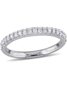 Miabella 1/5 Carat T.W. Diamond 10kt White Gold Semi-Eternity Anniversary Ring