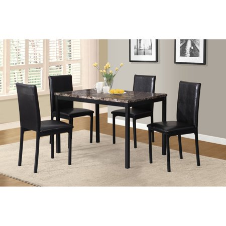 - Roundhill Furniture 5 Piece Citico Metal Dinette Set with Laminated Faux Marble Top, Black