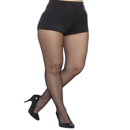 Dreamgirl Plus Size Fishnet Pantyhose w/ Solid Foot Women's Costume Accessory](Plus Size Fishnets)