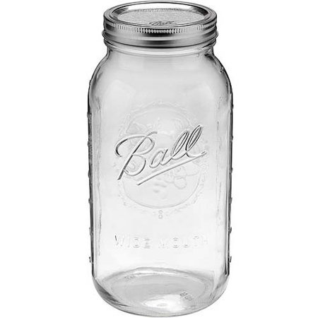 Ball Glass Mason Jar w/ Lid & Band, Wide Mouth, 64 Ounces, 6 Count - Large Ball Jars