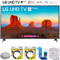 """LG 75UK6570PUB 75"""" Class 4K HDR Smart LED AI UHD TV w/ThinQ 2018 Model (75UK6570PUB) with Google Home Mini, 2x 6ft HDMI Cable, Screen Cleaner for LED TVs & 6-Outlet Surge Adapter"""