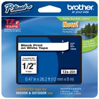 "Brother P-touch TZe231 (TZe-231), 1/2"" (0.47"") Black on White Standard Laminated Label Tape - 26.2 ft. (8m)"