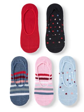 Women's Stripe and Dot Sneaker Liners, 5 Pairs