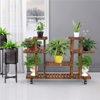Yaheetech 4-Layer Wooden Flower Stand Rolling Flower Plant Display Stand Shelf Ladder Stand for Living Room Balcony Patio Yard Indoors & Outdoors Ample for 12 Pots