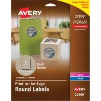 "Avery Round Print-to-the-Edge Labels, 2 1/2"" dia, Kraft Brown, 225/PK"