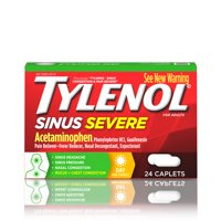 Tylenol Sinus Severe Daytime Caplets with Non-Drowsy Formula, 24 ct