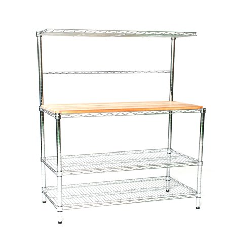"12"" Deep x 24"" Wide x 63"" High Deluxe Chrome Bakers Rack with Top Shelf & Butcher Block"