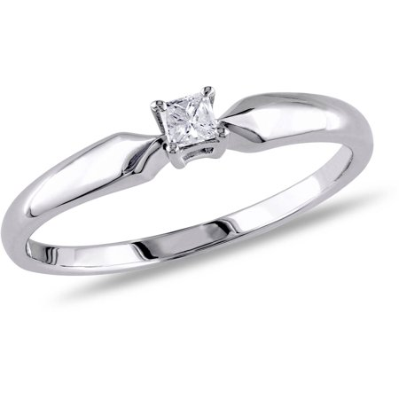 - 1/10 Carat T.W. Princess-Cut Diamond Sterling Silver Solitaire Ring