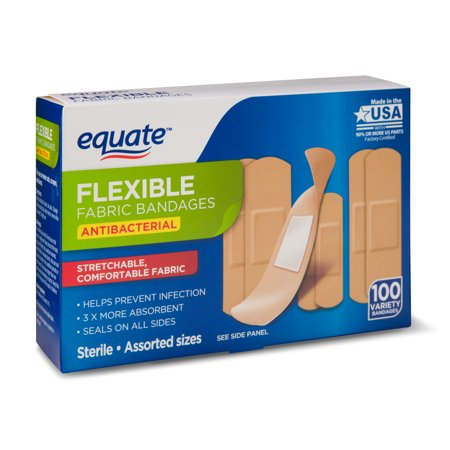 Equate Flexible Antibacterial Fabric Bandages, 100 Ct